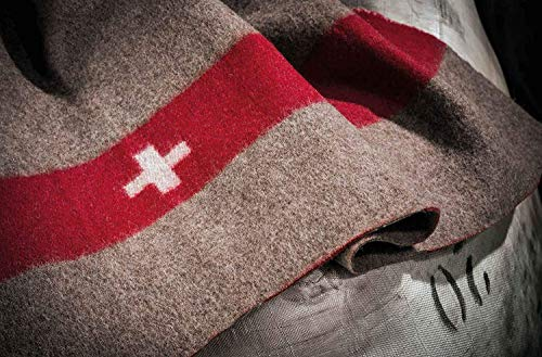!!! Das Original !!! Schweizer Armeedecke, Outdoordecke 140x200 cm mit Packriemen in Leder. Extrem strapazierfähig und waschbar bei 30 Grad.