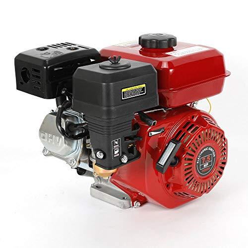 Benzinmotor 7.5 PS Motor Industriemotor 5.1 KW Tankdeckel mit Gewinde Luftkühlung, 20 mm Durchmesser mit Ölalarm Rückstoß Benzinmotor Kraftstoffverbrauch, Spritzen Schmiermodus (Dunkelrot)