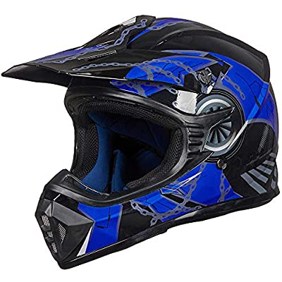 ILM Adult Youth Kids ATV Motocross Dirt Bike Motorcycle BMX MX Downhill Off-Road Helmet DOT Approved (Blue Black, Adult-M)
