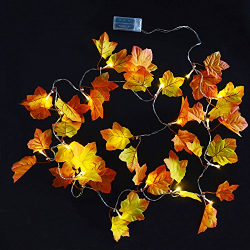 ABOAT 8.2 Feet Fall Garlands Autumn Decorations Fall Leaves Garland with 20 Warm White Lights for Decoration and Thanksgiving Gift