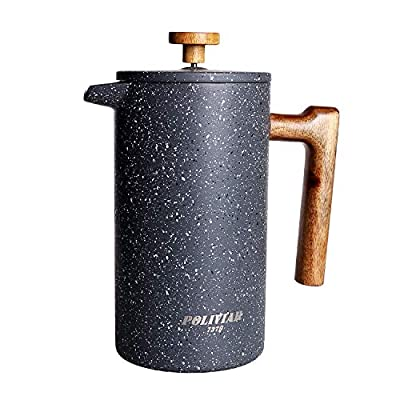 POLIVIAR French Press Coffee Maker, 34 oz Coffee Press with Teak Wood Handle, Double Wall Insulation & Dual-Filter Screen, Food Grade Stainless Steel for Good Coffe and Tea (Lava)