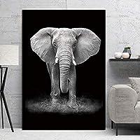 HDプリント北欧現代動物ウォールアートキャンバス絵画ゼブラエレファントキリンプリントとポスター家の装飾黒白動物ポスター-50x70cmフレームなし