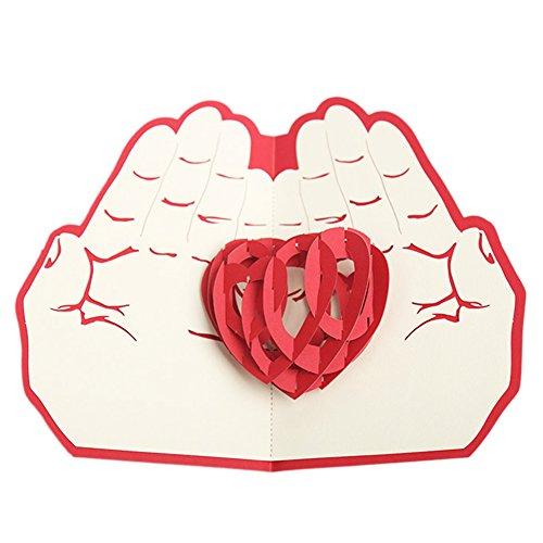 Steellwingsf 3D Pop-Up-Grußkarte mit Herz in der Hand für Jahrestag, Geburtstag, Hochzeit, Basteln, Urlaubskarte, Geschenk, Papier, Multi, Einheitsgröße