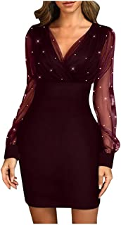 Sequin Long Sleeve Dresses for Women Formal Party Night Sexy Bodycon Mesh Sleeve V Neck Gowns Evening Dresses
