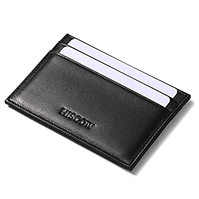 HISCOW Supple Leather Card Wallet with Thumb-slide ID Window - Italian Calfskin