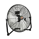 Aain(R) AFAN10 20'' High Velocity Floor Fan, 6000 CFM Heavy Duty Metal Floor Fans,3 Speed Settings, Black