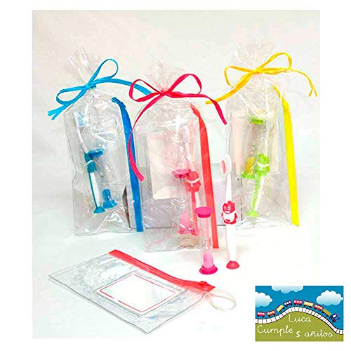 Set cepillo de dientes infantil con neceser y reloj de arena, presentado en bolsa celofán, lazo a tono y tarjeta personalizada. Lote de 10 unidades.