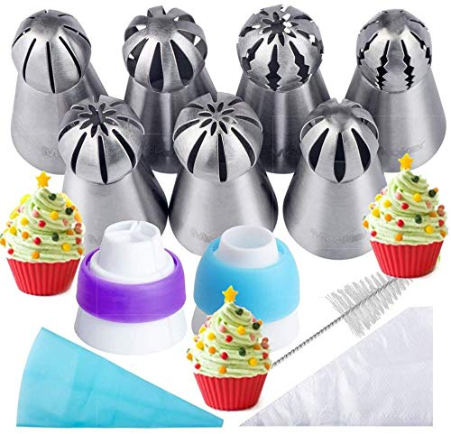 Russian Piping Tips 21PCS Kit,Set for | 7 Russian Tips, 10 Disposable Pastry Bags, 2 Coupler, 1 Reusable Silicone Pastry Bag,1 cleaning brush, E-book,by Mooker