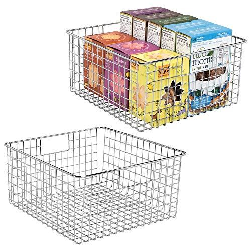 mDesign 2er-Set Allzweckkorb aus Metalldraht – flexibler Aufbewahrungskorb für die Küche, Vorratskammer etc. – kompakter und universeller Drahtkorb mit Griffen – silberfarben