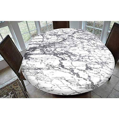 SoSung Apartment Decor Polyester Fitted Tablecloth,Murky Marble Rock Motifs with Dynamic Fractal Figures Abstract Artsy Print Oblong Elastic Edge Fitted Table Cover,Fits Oval Tables 68x48 Grey White