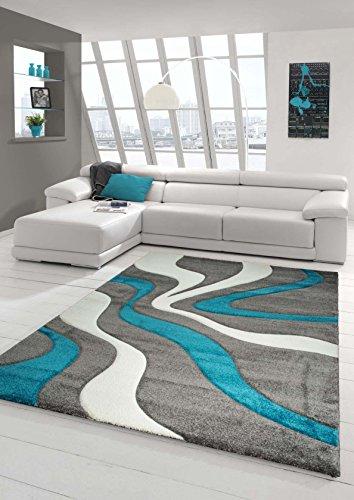 Salon Designer Tapis Contemporain Tapis Moquette Wave de Coupe de Contour Motif Turquoise Gris Blanc Größe 160x230 cm