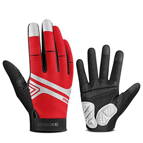 INBIKE Mountainbike-Handschuhe für Herren, Screen-Touch-Fahrradhandschuhe, MTB, gepolstert, Vollfinger, Rot, M