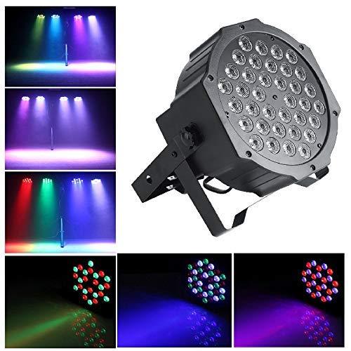 36 LED-Projektor, Bühnenlicht mit Fernbedienung Par Licht Strahler Spotbeleuchtung Stimmungsleuchten 3 Steuerungsmodi Bühnenlicht 3 Farben, DMX für DJs, Partys, Bar Club