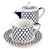 Imperial / Lomonosov Porcelain Cobalt Net Teapot w/ Teacup Gift Set