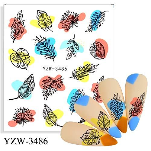 BLOUR 2021 Pegatinas de uñas Flores Negras Diseño Floral Deslizadores de manicura Calcomanías de Agua Decoración de uñas de Aluminio