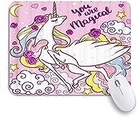 マウスパッド 個性的 おしゃれ 柔軟 かわいい ゴム製裏面 ゲーミングマウスパッド PC ノートパソコン オフィス用 デスクマット 滑り止め 耐久性が良い おもしろいパターン (ユニコーンレインボースター花抽象的な動物の芸術魔法のかわいい女の子)