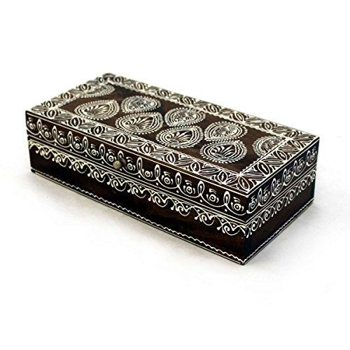 Gall&Zick Holz Box Aufbewahrungsbox Schatzkiste 'Schatztruhe Handbemalt Kiste Bemalt Truhe Orientalisch Massivholz Braun weiß