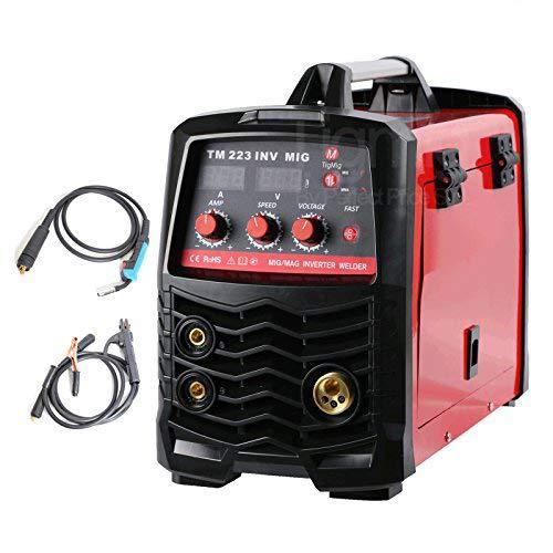 TIGMIG MIG-180 Inverter Schweißgerät MIG MAG - Schutzgas Schweissgerät mit 180 Ampere, Fülldraht und Elektroden geeignet mit/MMA E-Hand/IGBT Technologie / 230V / Blau