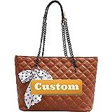ZZMGDAM Personalizado Nombre Personalizado Organizador Handbag Zipper Cuero Tote Grande Bolso de Hombro Barato (Color : Brown, Size : One Size)