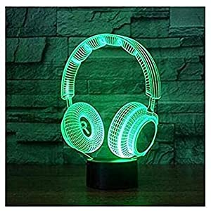 SUPERIORVZND 3D Lamp Wireless Headphone Night Light Touch Table Desk Optical Illusion Lamps 7 Color Changing Lights Home Decoration Xmas Birthday Gift