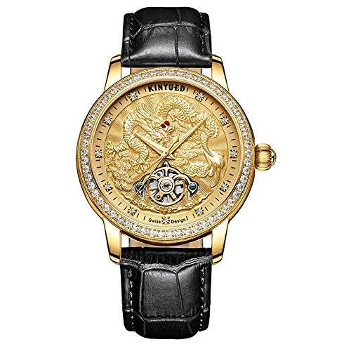 Armbanduhren,Kinyued Mechanische Uhren Automatik Tourbillion Skeleton Watch Edelstahl Wasserdicht, F