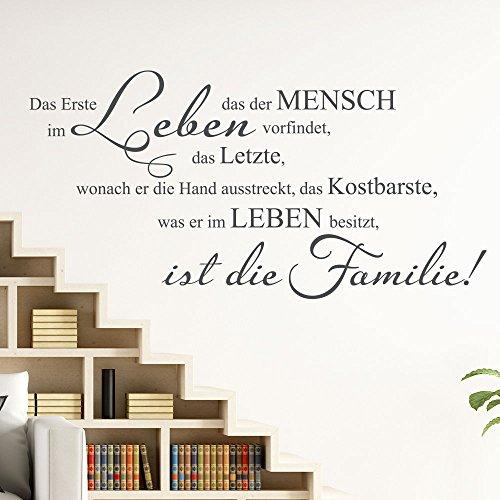 KLEBEHELD® Wandtattoo Das Kostbarste | Wandzitat Familienspruch Größe 80x40cm, Farbe schwarz