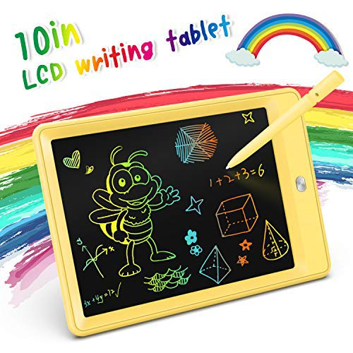 KOKODI LCD Writing Tablet, 10 Inch Colorful Toddler Doodle Board Drawing Tablet, Erasable Reusable Electronic Drawing Pads, Educational and Learning Toy for 2-6 Years Old Boy and Girls (Yellow)