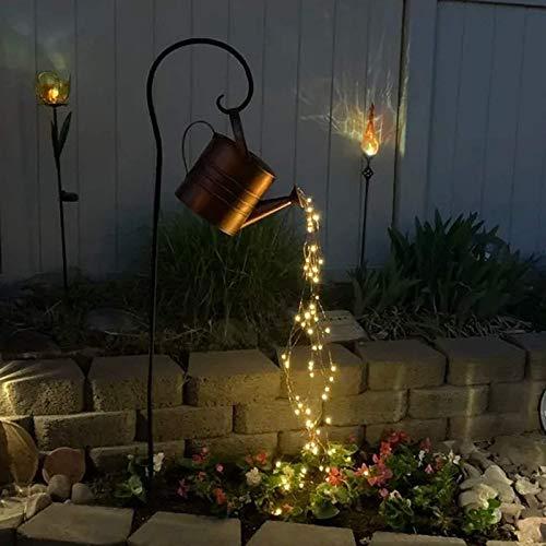 SKYWPOJU Luces de jardín con forma de estrella para exteriores,decoración de luces artísticas,con pilas,35 luces LED de cadena,forma de regadera,iluminación de caminos para patio,pasarela,patio,césped