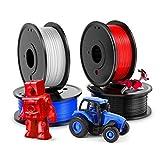 3D Printer PLA Filament 1.75mm, LABISTS Plastic 3D Printing PLA Filament Bundle 1kg/2.2lb, 0.25KG/Spool 4 Colors (White, Red, Black, Blue)