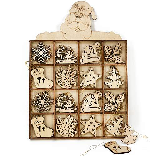 com-four® 48-teiliges Tannenbaumschmuck Holz-Anhänger Set - Weihnachtsbaumschmuck zum Dekorieren für den Weihnachtsbaum - Christbaumschmuck (0048 Stück - Holzbilder)