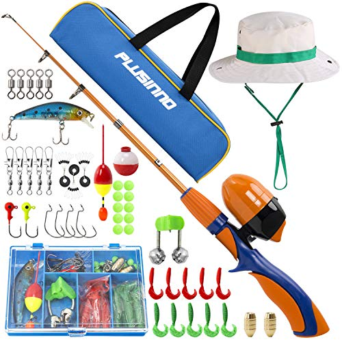 PLUSINNO Kids Fishing Pole,Portable Telescopic Fishing Rod and Reel Full Kits, Spincast Youth Fishing Pole Fishing Gear for Kids, Boys (Orange Handle with Bag&Hat, 120CM 47.24IN)