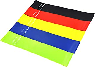 Decdeal 5PCS Sports Exercise Resistance Loop Bands Set Elastic Booty Band Set for Yoga Home Gym Training