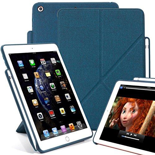 KHOMO Funda para iPad de 9,7 Pulgadas (2017 y 2018) con Soporte para bolígrafo, Serie Dual Origami, Pantalla Horizontal y Vertical