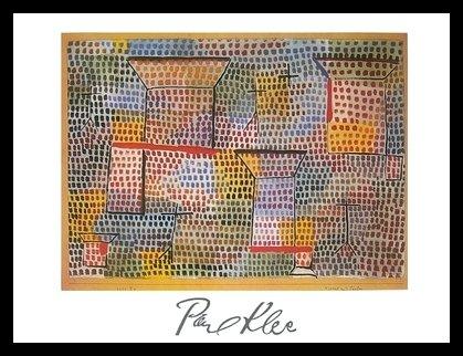 Germanposters Paul Klee Poster Kunstdruck Bild Kreuze und Säulen 80x60cm mit Alu Rahmen in schwarz