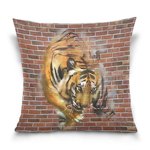 Osmykqe - Funda de almohada decorativa de pared de ladrillo rojo tigre, funda de almohada para sofá cama hogar, poliéster, Varios Colores, 20' x 20'