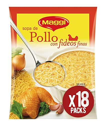 Maggi Sopa de Pollo con Fideos Finos - Sopa Deshidratada - Paquete de 18x82g - Total: 1.47kg