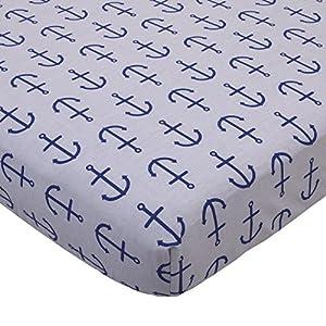 Nautica Kids Set Sail Nautical/Anchor 100% Cotton Fitted Crib Sheet, Navy, Grey