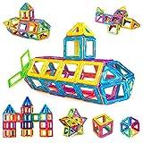 iKing マグネットおもちゃ 磁気おもちゃ 磁石ブロック 80PCS 正方形×28個 三角形×52個 マグネットブロック 磁性構築ブロック 磁石おもちゃ 立体パズル 知育オモチャ 積み木 DIY 男の子 女の子 おもちゃ 子供 クリスマス 誕生日プレゼント