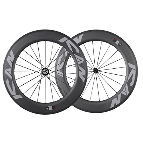 ICAN 86mm Carbon Time Trial Wheelset Triathlon Aero Road Bike Clincher Tubeless Ready 6 Pawls Hub 1920g (Standard Wheelset)