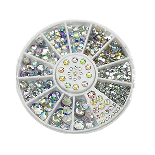 1box Fashion Nail Art Rivets Glitter Acrylic Fingernail Gems Multi Usage Nail Art Rhinestones Colorful Diy Plate Module Gel Tool