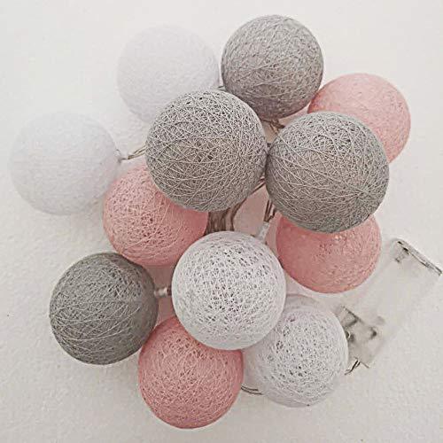 Style home LED Baumwollkugeln Lichterkette 12er Cotton Ball Lights, Batteriebetriebene Innen Dekolampe für Mädchen Kinder Party Weihnachten Hochzeit Feier Terrasse Zimmer (Warmweiß)