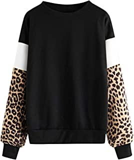 Long Sleeve Crew Neck Solid Leopard Stripe Sweatshirt Jumper Cute Casual School Girls Tops Blouse Whycat Leopard Print Colour Block Sweatshirt Women