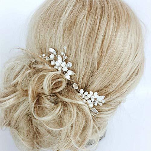Fairvir Horquillas para el pelo de novia con cristales plateados, perlas brillantes,...