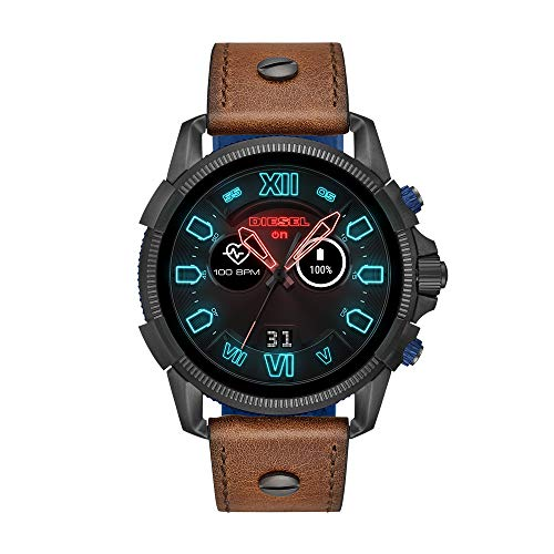 Diesel Men's Stainless Steel Touchscreen Watch with Leather Band Strap, Brown, 24 (Model: DZT2009)