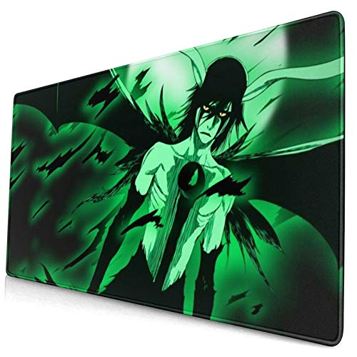 Bleach Ulquiorra Anime Design Extended Mouse Pad,Mat Mice Comfortable Waterproof Surface,Stitched Edge Long Mouse Mat for Laptop Computer,Gaming,Office,Gift 15.8x29.5 in.