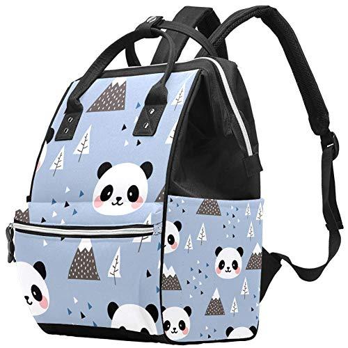 Bennigiry Sac à langer scandinave Happy Cute Panda Sac à dos de voyage Grande capacité Sac à dos Sac à langer Organisateur multifonction Sac de bébé pour maman
