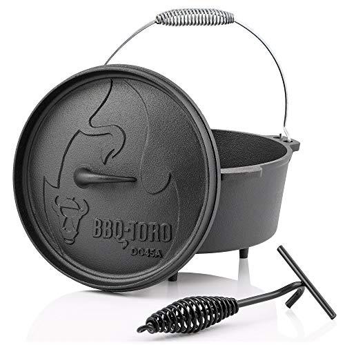BBQ-Toro Forno olandese Alpha Serie | precampionato - già bruciato| Diverse dimensioni | Pentola in ghisa olandese precampionato | Forno olandese in ghisa (DO45A - 3,1 Litri, Pentola con piedini)