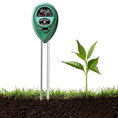 Testeur de Sol, 3 en 1 Soil Tester PH-mètre , Lumière du Soleil, température, hygromètre, pour Fleurs/Herbe/Plante/Jardin/Ferme/pelouse (Pas Besoin de Batterie)