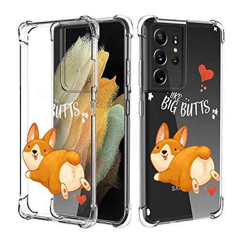Compatible with Samsung Galaxy S21 Ultra Case for Women Girl Clear with Design,Slim [Shock-Absorbing] Protective Cover Case for Samsung Galaxy S21 Ultra (Cute Corgi)