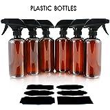 16oz Amber PLASTIC Spray Bottles w/Heavy Duty Mist & Stream Sprayers & Chalkboard Labels (6-pack);...